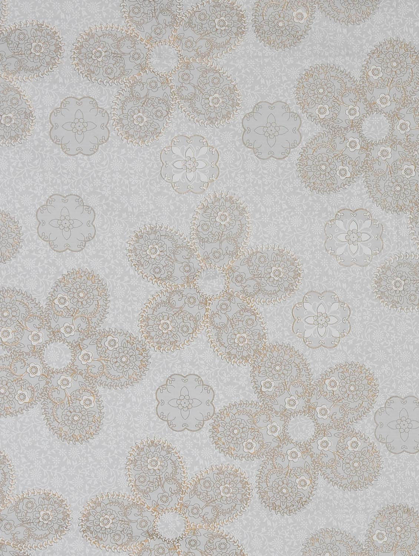 White Base Gold Floral Print Single Bed Sheet - Silkworm