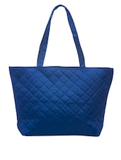 Quilted Blue Leatherette Handbag - SATCHEL Bags