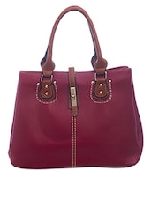 Decorative Stitch Handbag With Contrasting Handle - SATCHEL Bags