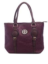 Embossed Decorative Buckle Handbag - SATCHEL Bags