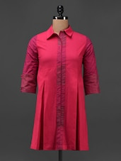Pink Cotton Hand Block Printed Shirt Dress - 9rasa