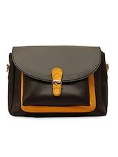 Black Textured Leatherette Sling Bag - La Volsa