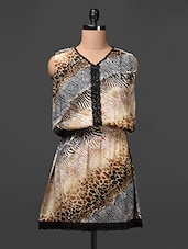 Animal Printed Crepe Dress With Crochet Lace - Meiro