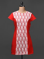 Red Lace Paneled Cotton Spandex Dress - Meiro
