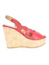 Red Leatherette Peep Toe Wedges - Fashion Mafia