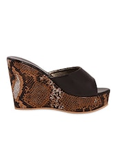 Dark Brown Peep-Toe Slip-on Wedges - Fashion Mafia