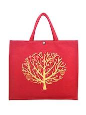 Red Printed Jute Bag - ANGES BAGS