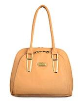 Solid Beige Faux Leather Handbag - BAGGO