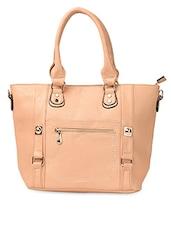 Beige Detachable Strap PU Handbag - ADISA