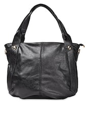 Black Plain Solid PU Handbag - ADISA