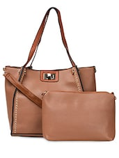 Brown Twist Clasp PU Handbag - ADISA