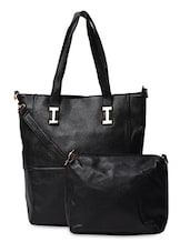 Plain Black PU Handbag - ADISA