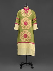 Green Embroidered Chanderi Silk Kurti - Rainbow Hues