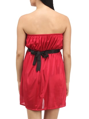 Red Plain Solid Satin Babydoll Nightwear Combo - 1058191 - Standard Image - 7