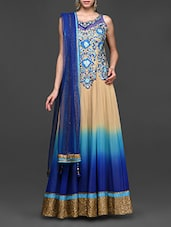 Blue And Beige Ombre Full Anarkali Suit - Abhilasha And Abhishek