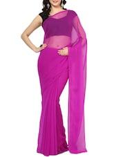 Purple Chiffon Saree With Blouse - AKSARA