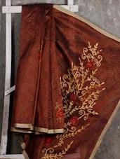 Gota Border Floral Embroidery Net Saree - JBT