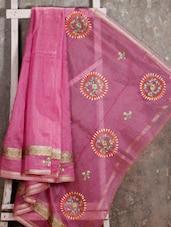 Floral Embroidered Border Embroidered Net Saree - JBT