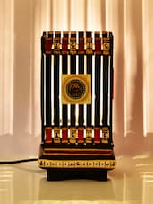 Ethnic Wooden Cuboid Table Lamp - ExclusiveLane