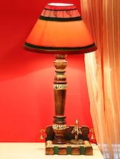 Dhokra Figurine & Warli Hand Painted Wooden Lamp - ExclusiveLane