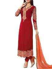 red chanderi dress material -  online shopping for Dress Material