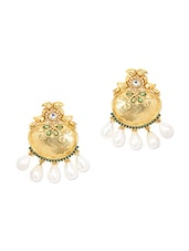 Gold Metal Alloy & Pearl Earrings - Art Mannia