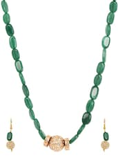 Green Metal Alloy & Stone Pendant Set - Art Mannia