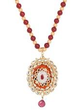 Gold Maroon Metal Alloy & Beads Neckpieces - Art Mannia