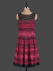 Black And Maroon Printed Dress - Eavan