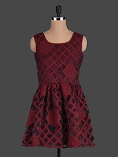 Maroon Sleeveless Fit And Flare Dress - Eavan