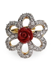 Red Rose American Diamond Floral Ring - Crunchy Fashion