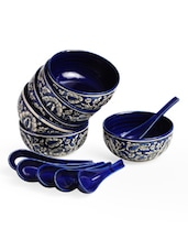Mughal Floral Navy Blue Soup Bowl With Spoons (Set Of 6) - Cultural Concepts