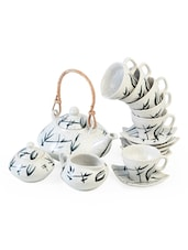 Spray Painted Tea Set With Cane Handle - Cultural Concepts