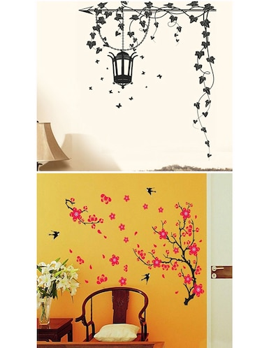 Grape Vine And Red Flowers Combo Wall Stickers - 10628221 - Standard Image - 1