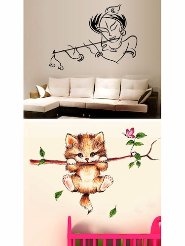 Krishna Modern Art And Catty On Branch Combo Wall Stickers - 10628264 - Standard Image - 1