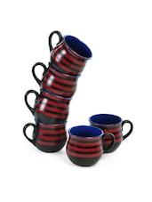 Stripped Black Potbellied Ceramic Coffee Mug Set - Cultural Concepts