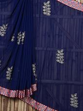 Embellished Work Blue Sheer Saree - Siya