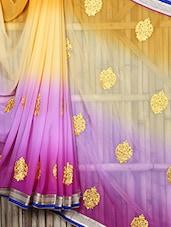 Gota Border Embroidered Ombre Sheer Saree - Siya