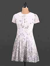 White Butterfly Printed Dress - Thegudlook