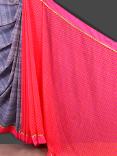 Pink And Grey Printed Synthetic Saree - Jashn
