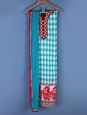 Sky Blue And White Paisley Printed Suit Set - Viva N Diva