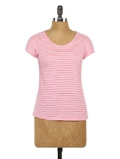 Pink Striped Short Sleeves Cotton Top - Globus
