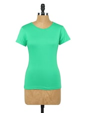Solid Green Round Neck Knit Top - Globus