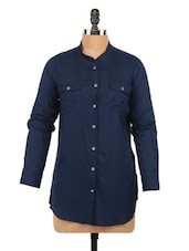 Solid Navy Blue Mandarin Collar Shirt - Globus