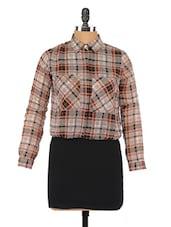 Checked Shirt Collar Full Sleeve Dress - Globus