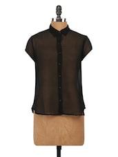 Black Sheer Shirt Collar Shirt - Globus