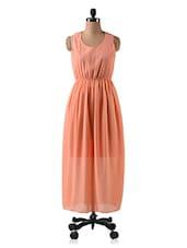 Elastic Waist Round Neck Georgette Maxi Dress - CINDRELLA