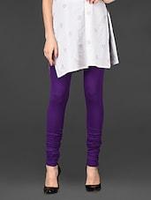 Solid Purple Viscose Lycra Churidaar Leggings - De Moza