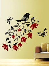 Flower & Butterflies On Floral Vine Wall Sticker - Creative Width Design