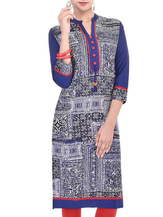 Beautiful Cotton Blue Color Printed Kurti From The House Of Palakh - By